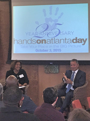 MBUSA President & CEO, Stephen Cannon with Angela P. James, 2015 Hands On Atlanta Day Co-Chair and Partner at Alston & Bird, LLP., discussing corporate responsibility and MBUSA's Presenting Sponsorship of this year's 25th Anniversary Hands On Atlanta Day.