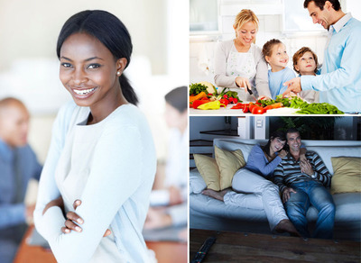 Looking good for work + Great family dinner + Getting kids in bed and relaxing with my husband [Troels Graugaard/Vetta/Getty Images; Kristian Sekulic/ the Agency Collection/Getty Images; Elkor/Vetta/Getty Images].  (PRNewsFoto/The Quaker Oats Company)