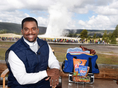 TV personality Alfonso Ribeiro kicks off the Chex Mix Deliciously Unpredictable Road Trip at Old Faithful Lodge in Yellowstone National Park, Wyoming, on Thursday, July 9, 2015.