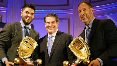 Rawlings Gold Glove Award winners for first basemen, Eric Hosmer of the Kansas City Royals(TM) (left) and the award for Paul Goldschmidt of the Arizona Diamondbacks(TM) accepted by Luis Gonzalez and presented by Steve Garvey at the Rawlings Gold Glove Awards in New York City on November 13, 2015.