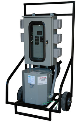 The MGL25-8C-480-120V-GFCI Temporary Power Distribution Panel converts 480 VAC three phase electrical current to single phase 120V AC and 240V AC 60hz. This portable substation is suitable for outdoor applications, with a fully potted transformer and Nema 3R load center.  (PRNewsFoto/Larson Electronics)