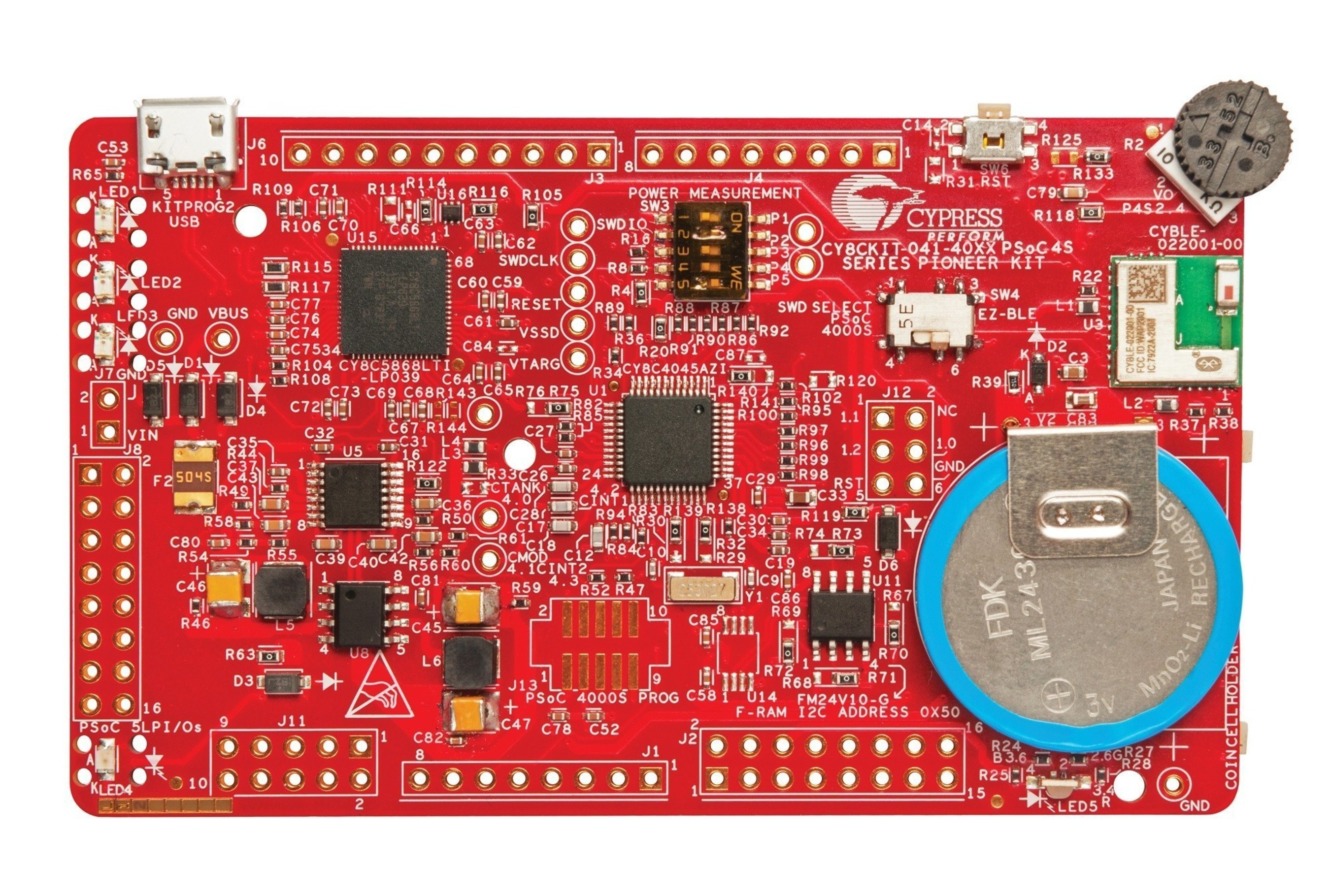 Pictured is the PSoC 4 S-Series Pioneer Kit from Cypress Semiconductor Corp.