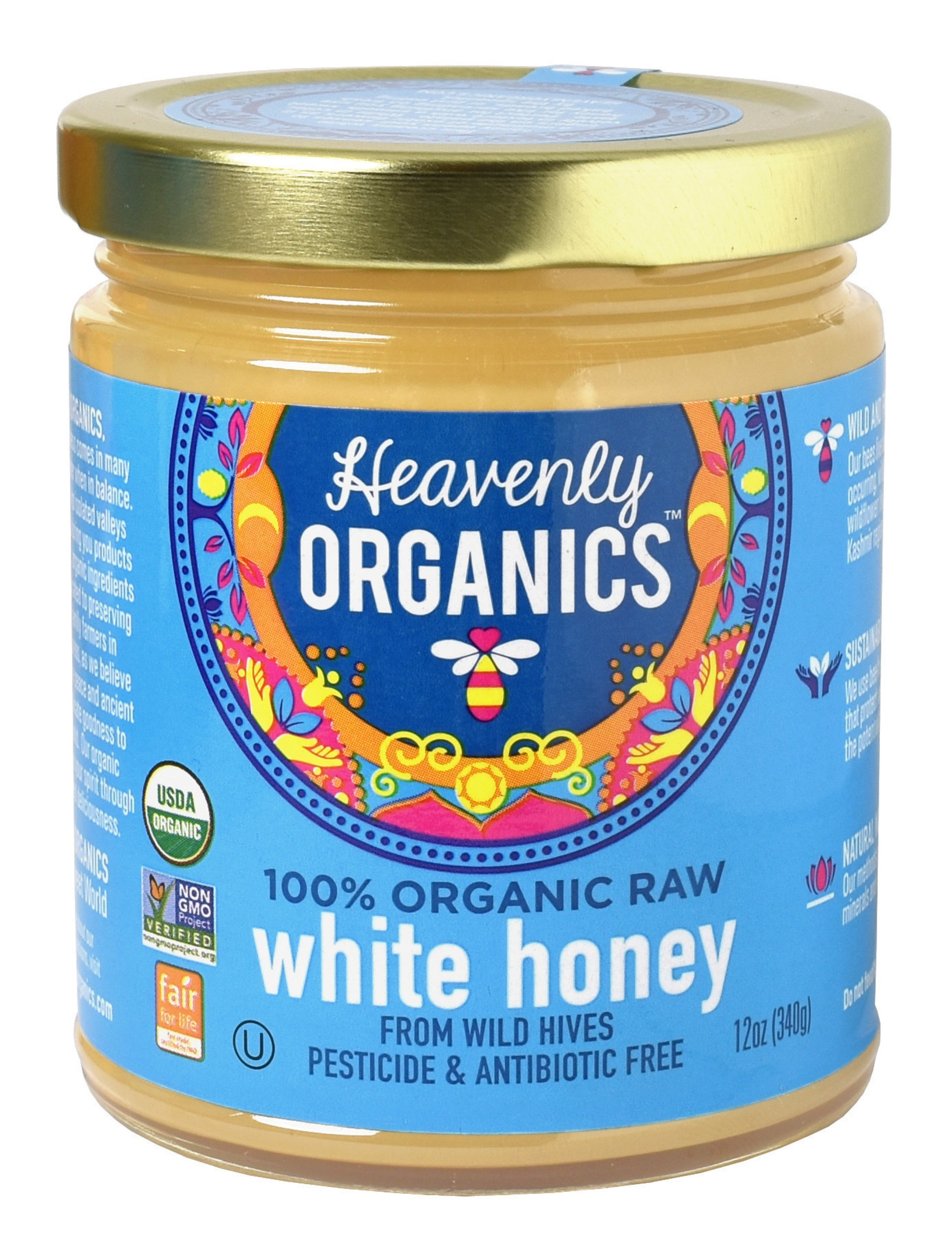 Heavenly Organics 100% Organic, Raw, Pesticide and Antibiotic Free White Honey from Wild Beehives