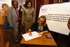"Prof. Koigi Kamau (University of Nairobi), Hon. Joyce Lay (Member of Kenyan Parliament) and Belen Garijo (Merck KGaA, Darmstadt, Germany) launched the ""More than a Mother"" campaign in Nairobi on June 22, 2015 (PRNewsFoto/Merck)"