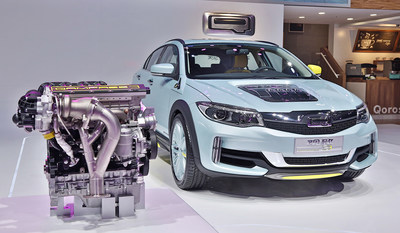 Qoros display car with the QamFree engine debuted at Beijing Auto Show in April, 2016.