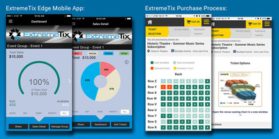 To the left is the ExtremeTix Edge mobile application. ExtremeTix clients are able to track ticket sales and ticketing data in real time using their mobile device. To the right is the reserved seating selection options available for ticket buyers in real-time inventory directly from a mobile device.