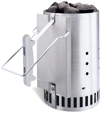 Help Dad Fire Up the Coals with Ease!  The Weber Rapidfire Chimney Starter Allows Coals to Light Quickly.  Visit www.weber.com