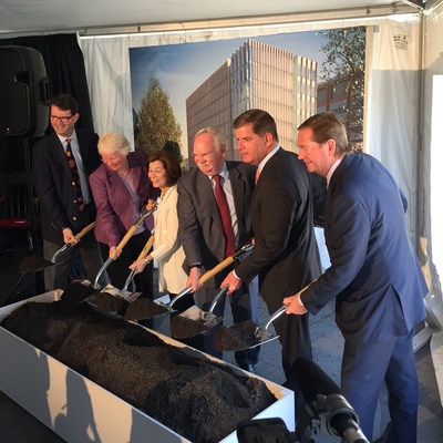 From left, J. Kenneth Menges, Jean Morrison, Gloria Waters, Boston University President Robert Brown, Boston Mayor Martin Walsh and Robert Knox (C)Arup/Julian Astbury