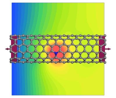 Nanotube transport device showing the effect of a nitrogen defect on electron transport.  (PRNewsFoto/Accelrys, Inc.)