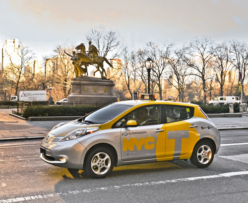 Nissan, New York City Launch Leaf Electric Vehicle Taxi Pilot.  (PRNewsFoto/Nissan North America)