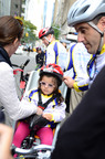 Two year old Lauren and her dad Tom Calvo preparing for Lighthouse International's Double Up 4 Vision Tandem Bike Ride/Walk.  (PRNewsFoto/Lighthouse International)