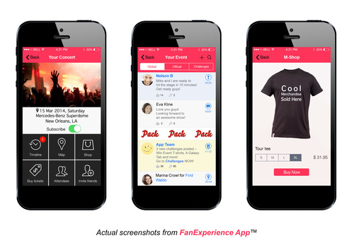 FanExperience App screenshots - Welcome Page, Timeline view and mobile shop (PRNewsFoto/Pack Events)