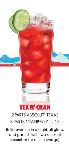 Absolut Texas Tex N' Cran Recipe.(PRNewsFoto/Pernod Ricard USA)
