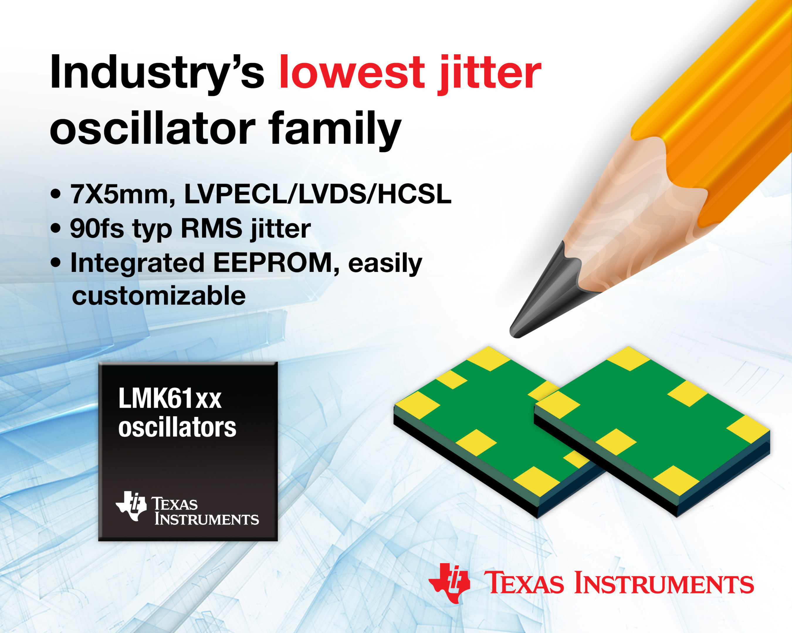TI's new oscillator family offers the industry's lowest jitter to optimize signal integrity in performance-critical applications