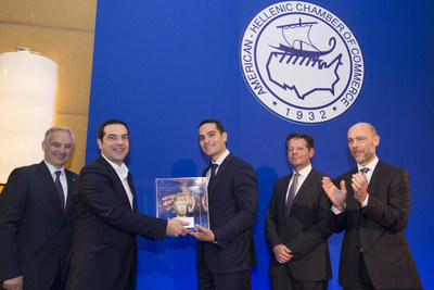 From left to right:  Elias Spirtounias, American-Hellenic Chamber of Commerce Executive Director; Alexis Tsipras, Prime Minister of the Hellenic Republic; George Serafeim, Harvard Business School Professor; John Moran, former Secretary General of the Ireland Department of Finance and European Investment Bank Director; and Simos Anastasopoulos, American-Hellenic Chamber of Commerce President.