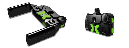 iXtreme for iPhone(R) shown in Limited Edition Kickstarter Green with detachable iX Grips and 0 degree Adapter for GoPro(R).  (PRNewsFoto/xDev Inc.)