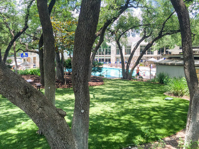 Artificial grass landscaping at Westwood Country Club in Austin, TX. Installation by Texas Custom Turf.