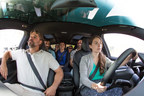 Tesla Model X vanpooling with 7 passengers from the Green Commuter team seated comfortably.