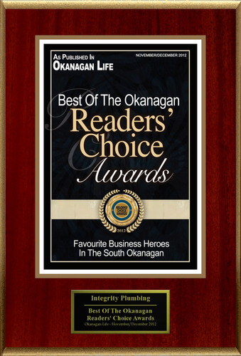 Integrity Plumbing & Gas Ltd. Selected For 'Best Of The Okanagan Readers' Choice Awards'