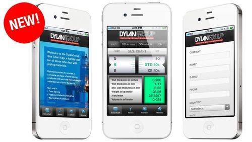 DylanGroup is proud to introduce the DylanGroup Size Chart App, a handy tool for all those who deal with piping materials (PRNewsFoto/DylanGroup)