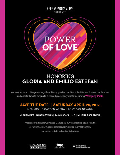 Keep Memory Alive presents Power of Love Gala honoring Gloria and Emilio Estefan at MGM Grand Garden Arena in Las Vegas Saturday, April 26, 2014.  (PRNewsFoto/Keep Memory Alive)