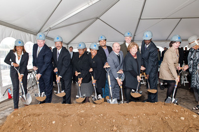 NewCourtland Breaks Ground to Build LIFE in Philadelphia.  Pictured from left to right are:  NewCourtland Director of Marketing & Public Affairs Angela M. Brown; PIDC President John Grady; US Congressman Chaka Fattah, 2nd District; Pennsylvania State Senator Shirley Kitchen, 3rd District; City Councilwoman Cindy Bass, 8th District; JP Miranda, candidate for Pennsylvania State Representative, 197th District; NewCourtland Director of Logistics & Planning Max Kent; NewCourtland Board Member Joe Duffey; NewCourtland President & CEO Gail Kass; Pennsylvania State Representative Gary Williams, 197th District; Ryanne Shuey, Vice President, PNC Financial Services Group.  (PRNewsFoto/NewCourtland)