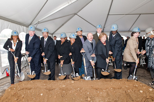 NewCourtland Breaks Ground to Build LIFE in Philadelphia.  Pictured from left to right are:  NewCourtland Director of Marketing & Public Affairs Angela M. Brown; PIDC President John Grady; US Congressman Chaka Fattah, 2nd District; Pennsylvania State Senator Shirley Kitchen, 3rd District; City Councilwoman Cindy Bass, 8th District; JP Miranda, candidate for Pennsylvania State Representative, 197th District; NewCourtland Director of Logistics & Planning Max Kent; NewCourtland Board Member Joe Duffey; NewCourtland President & CEO Gail Kass; ...