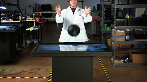 Dropping a 13.8 Pound Bowling Ball onto the MT55 Platform: Ideum's MT55 multitouch tables are truly ...