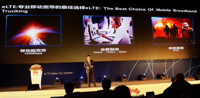 Mr. Patrick Zhang shared Huawei's vision in enterprise LTE market. (PRNewsFoto/Huawei) (PRNewsFoto/HUAWEI)