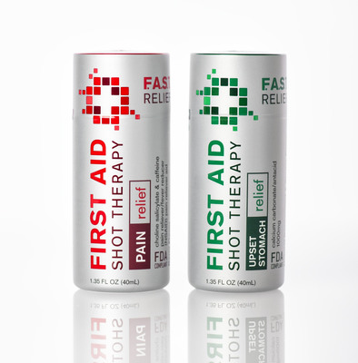 First Aid Shot Therapy - Upset Stomach Relief  and Pain with New Single-Dose OTC Liquid Shot