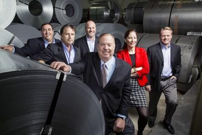 Mill Steel Co. partnership group (from left): Rob Vella, Carl Quenneville, Joe Poot, David Samrick, Pam Heglund, and Eric Lambert.