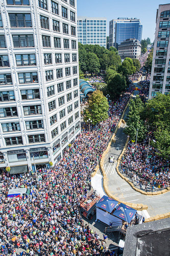 46,000 spirited spectators watch as 36 competing teams race down Seattle's Yesler Way and 2nd Ave at Red ...