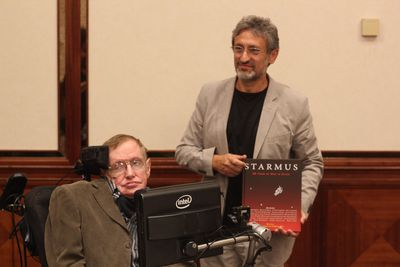 Stephen Hawking and Garik Israelian presenting the Starmus Book (PRNewsFoto/Starmus Festival)