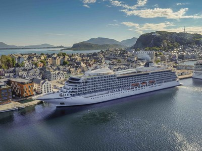 """The new 930-passenger Viking Sea, docked in Alesund, Norway on the first sailing of Viking's new """"Into the Midnight Sun"""" itinerary that cruises between London and Bergen, Norway."""