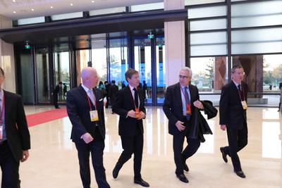 Former President of Mexico, Emesto Zedillo welcomed by Brice Pean, GM of Sunrise Kempinski Hotel, Beijing & Yanqi Island