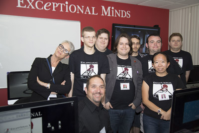 Jamie Lee Curtis, left, and the Exceptional Minds graduating class of 2015 Nicky Benoist, Jeremy Pollock, David Miles, Mason Taylor, Erik Prothero, Shane McKaskle and Lauren Kato, with Exceptional Minds Program Director Ernie Merlan kneeling.