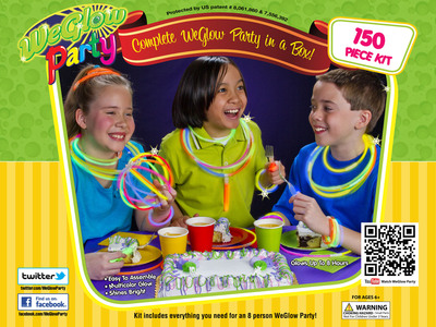 The new, 150 piece, all inclusive, WeGlow Party Kit includes everything you need for an amazing celebration.  Just add kids and a cake!.  (PRNewsFoto/WeGlow International)