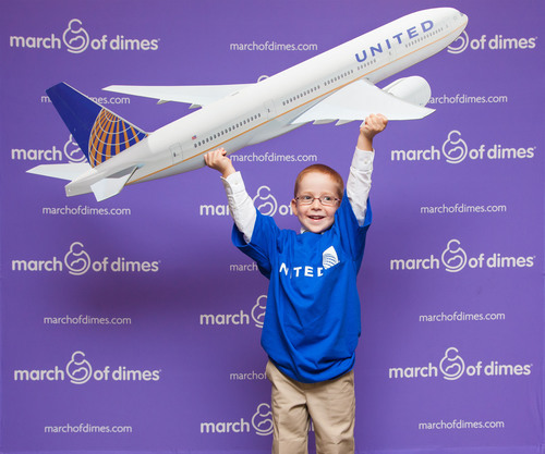 United serves as the official airline of the March of Dimes National Ambassador Program. With United's support, the March of Dimes National Ambassador - Aidan Lamothe of Manchester, N.H. - and his parents will be able to attend events nationwide to help raise awareness of the need for research and community programs to prevent premature birth and birth defects.  (PRNewsFoto/United Airlines)
