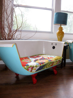 First place Etsy prize winner, Cast Iron Claw Foot Bathtub Couch by artist Jill Morrison.