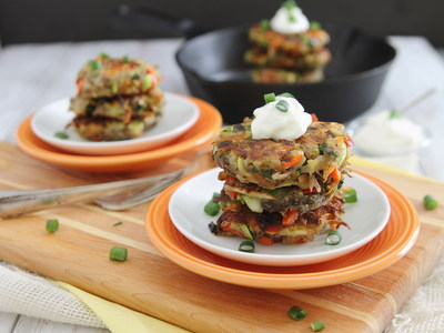 Rainbow Potato Pancakes, www.potatogoodness.com. (PRNewsFoto/United States Potato Board)