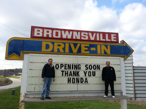 Brownsville Drive-In owner, John Sebeck and theater manager, Charlie Perkins thank Honda for the funds donated through Project Drive-In. (PRNewsFoto/American Honda Motor Co., Inc.)