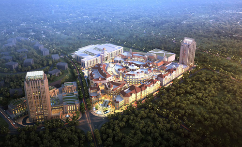 Aerial view of Bridge Capital Hongyi Outlets, the first Outlets program on the Economic Zone of the west coast ...