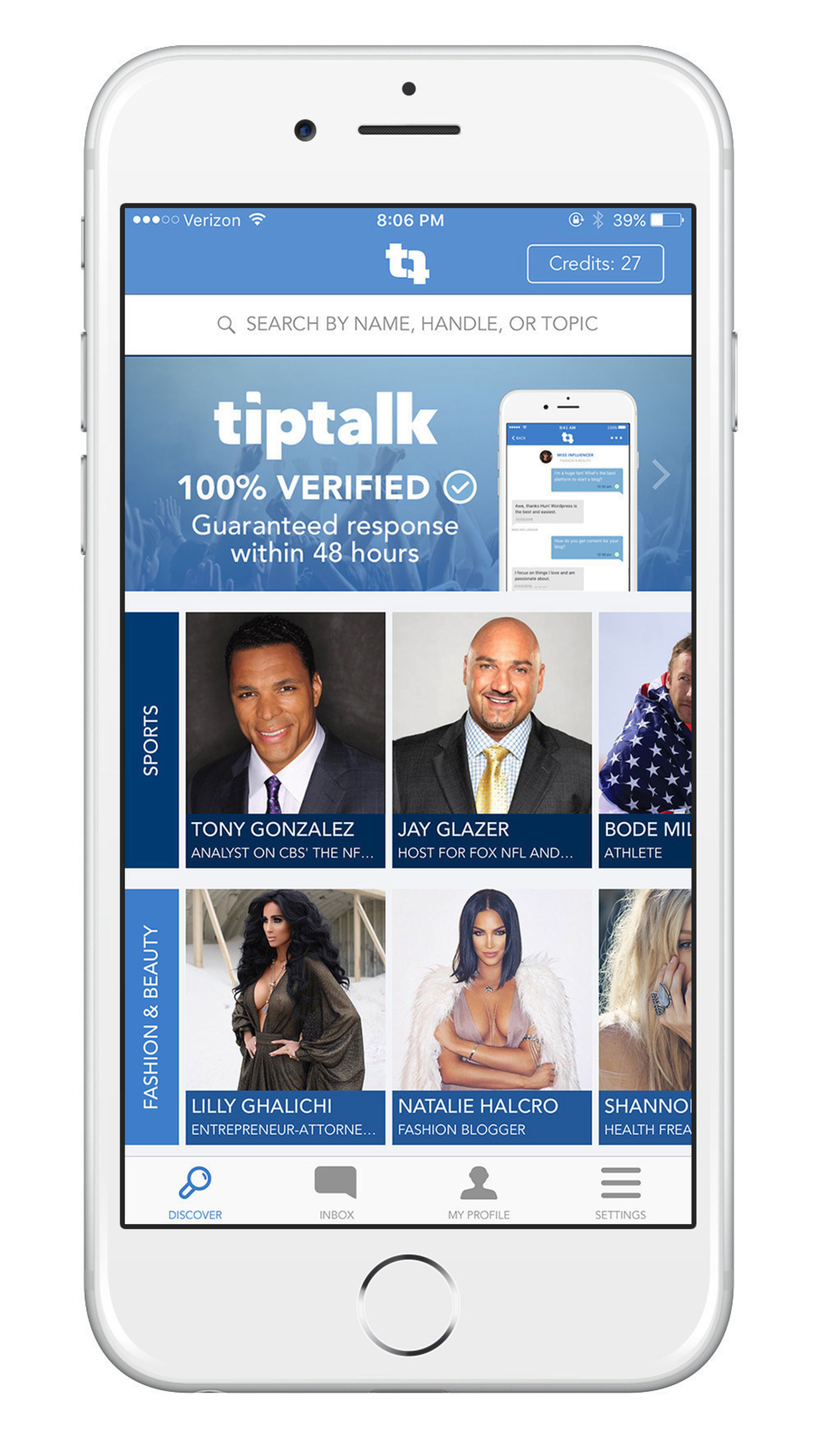 New Messaging Platform TipTalk Gives Fans One-on-One Access to Their Favorite Experts, Influencers and Stars Across Sports, Entertainment and Social Media