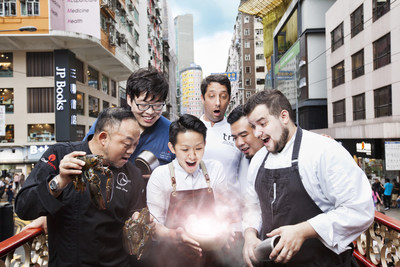 A group of passionate chefs from some of Hong Kong's trendiest restaurants proudly present their signature dishes with a touch of fun. From Left to Right: Chef Eddy Leung from Chez Ed, Chef Sang from Jinjuu, Chef Agustin Balbi from The Ocean, Chef Conor Beach from TRi, Chef May Chow from Little Bao, and Chef Kwan Wai Chung from Harlan's