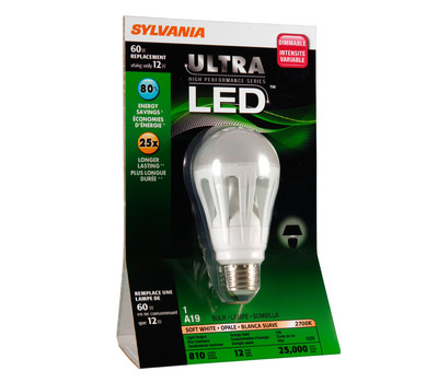 The SYLVANIA Ultra A-Line 12-watt LED bulb is the brightest LED replacement for America's most popular light bulb, the 60-watt incandescent.  (PRNewsFoto/OSRAM SYLVANIA)