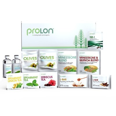 """ProLon's """"fasting with food"""" Meal Program is packaged in convenient grab-and-go boxes that include energy bars, soups, a variety of snacks, drinks, and supplements."""