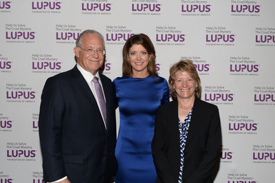 (L-R) Dr. William Haseltine, Founder, Human Genome Sciences, Norah O'Donnell, Co-Anchor, CBS This Morning, and Laurie Olson, Executive Vice President, Strategy, Portfolio, and Commercial Operations, Pfizer Inc, were honored for their efforts to fight lupus during the the Lupus Foundation of America's National Gala in New York City on October 8th.  (PRNewsFoto/Lupus Foundation of America)