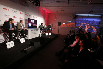 "Panelists gather to discuss picture quality and the future of streaming content at  LG and Netflix's ""Dare to See OLED"" event."