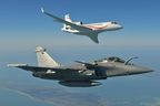 Rafale fighter jet flying formation with a Falcon 7X to be displayed at India Aviation 2014