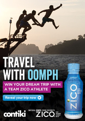 "Contiki Vacations & ZICO Pure Premium Coconut Water Present ""Travel with Oomph"". (PRNewsFoto/Contiki Vacations)"